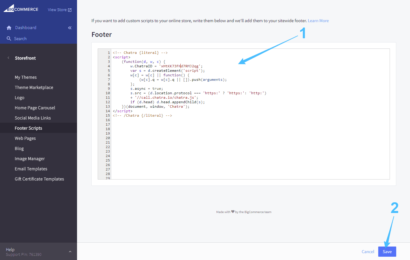 Bigcommerce dashboard screenshot: code input