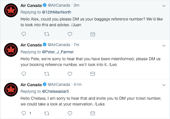 Air Canada uses a signature at the end of each tweet