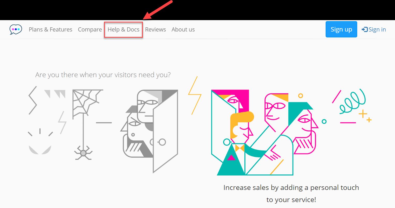Chatra's website 'Help & Docs' button