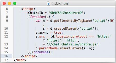 Chatra widget code screenshot