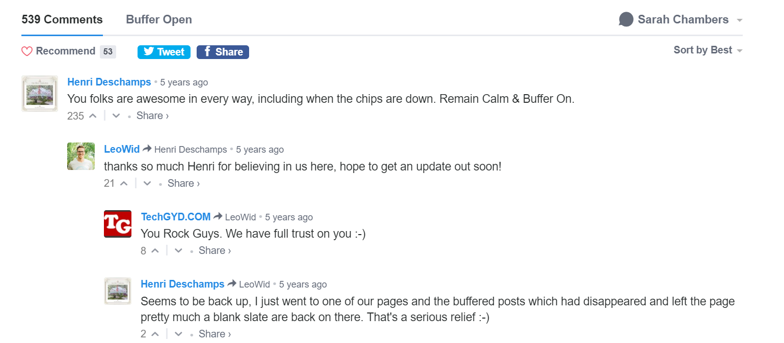 Over 500 comments of Buffer customers thanking them for the updates throughout the incident
