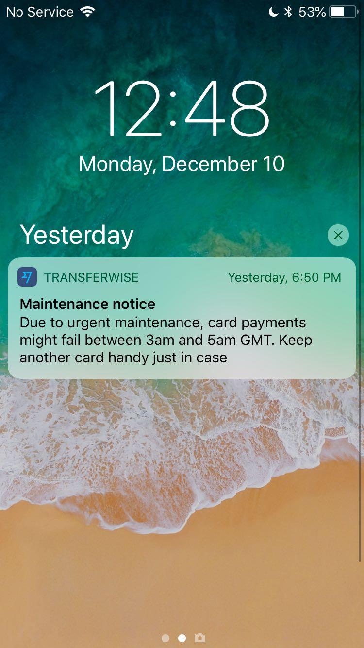 Transferwise's emergency maintenance notification