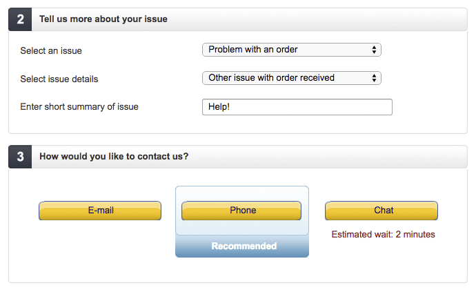 Amazon contact form