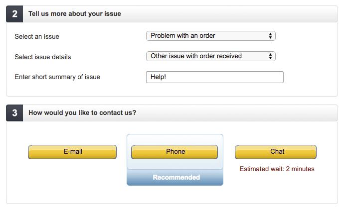 Amazon contact form