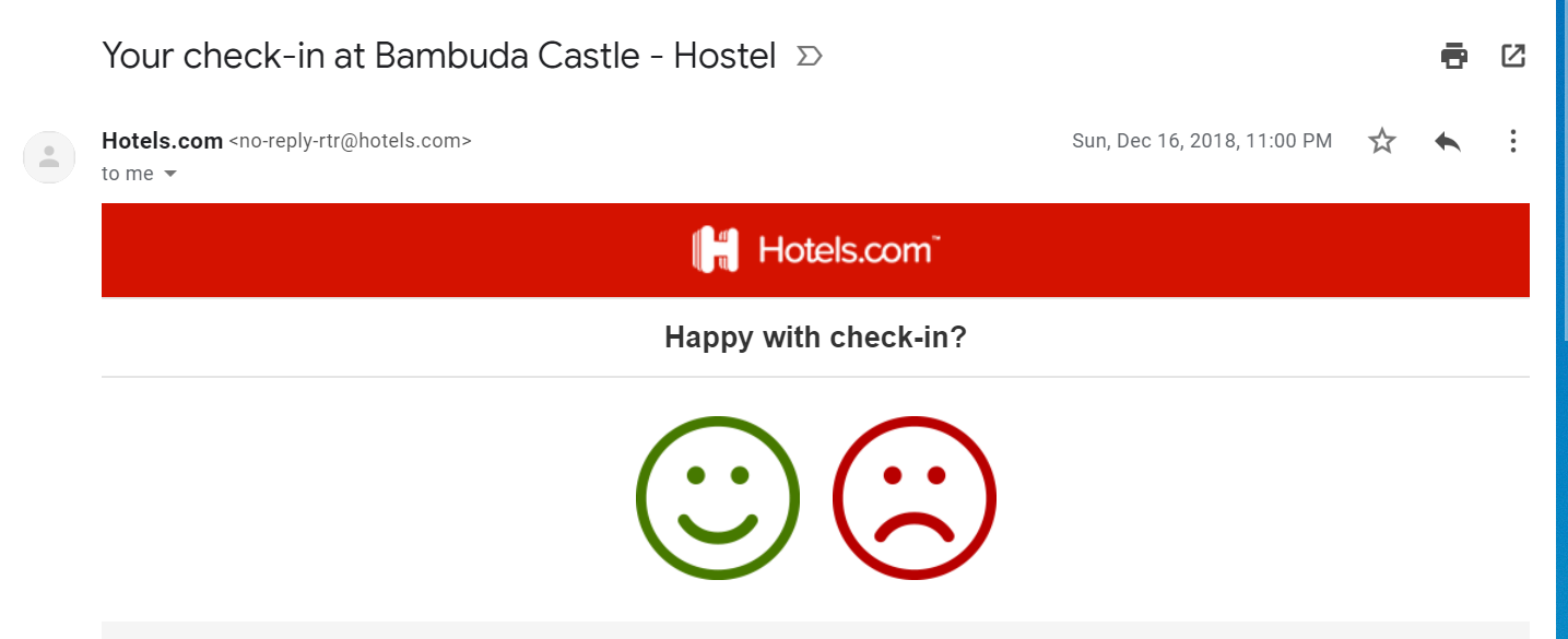 Hotels.com emails guests after their suggested check-in time