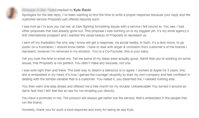 Amazing response to the Proposify team from their original angry customer